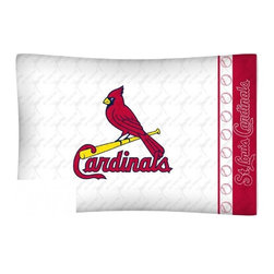Sports Coverage - MLB St. Louis Cardinals Microfiber Pillow Case - Officially licensed MLB St. Louis Cardinals Microfiber coordinating pillow case to match Comforters, Pillow sham, Bedskirts and Draperies. The Pillowcase only has a white-on-white print and the officially licensed team name and logo printed in team colors. Made from 92 gsm microfiber for extra stability and soothing texture and is 100% Polyester. Wrinkle resistant and stain-resistant. Get your MLB Pillow Case Today.   Features:  -  92 gsm Microfiber,   - 100% Polyester,    - Machine wash in cold water with light colors,    -  Use gentle cycle and no bleach,   -  Tumble-dry,   - Do not iron,   - Pillow case Standard - 21 x 30,