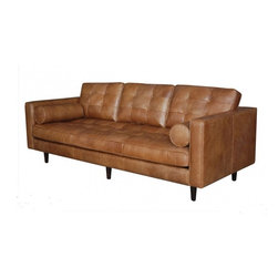 Harper (Tan) - Stand out while sitting pretty in the mid-century shapes of Harper. Inspired by the slim, crisp lines of iconic 1950's furniture designs, this modern collection covered in buttery, top-grain leather is sleek and sophisticated, with solid wood bases and a sinuous spring system that supports the soft, comfortable seats.