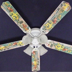Ceiling Fan Designers Construction Dump Trucks Indoor Ceiling Fan - He'll dig having the Ceiling Fan Designers Construction Dump Trucks Indoor Ceiling Fan in his room. A great way to decorate while cooling down and lighting up his bedroom, this fun ceiling fan and light kit combo is loaded with colorful dump trucks. It comes in your choice of size: 42-inch with 4 blades or 52-inch with 5. The blades are reversible so you get the colorful design on one side and white on the other. It has a powerful yet quiet 120-volt, 3-speed motor with easy switch for year-round comfort. The 42-inch fan includes a schoolhouse-style white glass shade and requires one 60-watt candelabra bulb (not included). The 52-inch fan has three alabaster glass shades and requires three 60-watt candelabra bulbs (included). Your ceiling fan includes a 15- to 30-year manufacturer's warranty (based on size). He's going to love this fan!