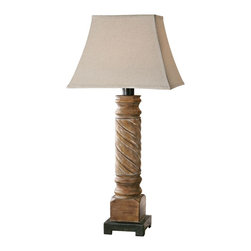 "Uttermost - Contemporary Uttermost Villaurbana Rustic Wood Table Lamp - At 37"" high the Villaurbana table lamp is sure to make a huge presence in the room! The carved and turned base features a light wood tone with gray glaze and a rustic bronze foot supports the design. Up top a weather-resistant oatmeal linen shade echoes the organic look and feel of the design. This accent lamp is suitable for indoor or outdoor use and was designed by Carolyn Kinder for Uttermost. Light wood tone. Gray glaze. Rustic bronze foot. Weather resistant oatmeal linen shade. For indoor or outdoor use. On-off switch. Takes one 100 watt standard base bulb (not included). 37"" high. Shade is 18"" wide 14"" high.  Light wood tone.  Gray glaze.  Rustic bronze foot.  Weather resistant oatmeal linen shade.  For indoor or outdoor use.  On-off switch.  Takes one 100 watt standard base bulb (not included).  37"" high.  Shade is 18"" wide 14"" high."