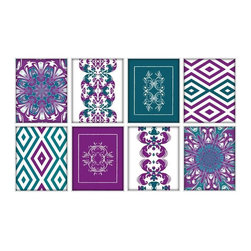 Studio D&K - Wall Art Set of 8 Prints in Dark Teal, Magenta, and Purple - Set of Eight 8x10 Abstract Prints in Various Shades of Teal and Magenta