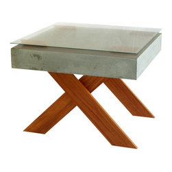 VerteX design studio - XX Coffee Table, With Glass - Concrete coffee table with red oak wood legs and glass top.