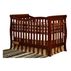 AFG Baby - AFG Baby Nadia Convertible Crib with Toddler Rail in Cherry - The Nadia 3 in 1 Convertible Crib is made of solid wood with a beautiful, glossy non-toxic finish. Wavy undulating panels provide ease of access. In addition, this unique look is a great centerpiece for your nursery. Paired with our Nadia Changing Table or 3-Drawer Changer, the Nadia crib is a great way of expressing yourself. It converts to a toddler bed with included guardrail and a full-size bed, conversion rails sold separately. An adjustable 4-level mattress height support adapts easily with your child's growth. The Nadia's simple stylish design is perfect for any type of nursery.