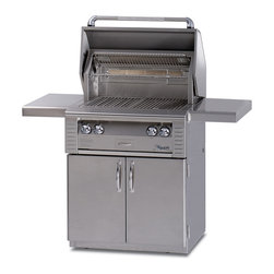 Alfresco - Alfresco ALX2 30-in Grill on Cart w Rotisserie | LP - Alfresco Gas Grills LX2 30 Inch All Grill On Cart Features: Two high-temp stainless steel main burners producing 5500 BTUs Integrated rotisserie with built-in motor & 15000 BTU infrared burner Smoker with 7000 BTU dedicated burner & oversize wood chunk drawer 542 sq. In. Actual grilling area plus four position adjustable warming rack Dual integrated high-intensity halogen work lights and User-friendly pushbutton ignition with sealed 9v power source. This gas grill also includes 30 Inch Freestanding Grill Cart with (2) Access Doors. Alfresco LX2 Features : Great Grilling = High Heat