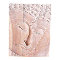Kammika - Buddha Panel Ushnisha Wood 24 x 36 Height With Livos Eco Friendly White Oil - This inspiring Buddha Panel Ushnisha 24 inch length x 36 inch height x approximately 5 inch thickness, including the approximately 3 inch protruding nose, Sustainable Monkey Pod Wood in Eco Friendly, Natural Livos White Oil Finish Wall Panel presents Ushnisha, a three dimensional oval at the top of the head of the Buddha. It symbolizes his wisdom and openness as an enlightened being. Discover the effect of Buddha in the stage of achieving knowledge, Ushnisha, when you display this wondrous carved from joined panels wall panel; each has two embedded flush mount Keyhole hangers on the topmost securing crossbar on the back for a protruding screw from your wall. Carved by craftspeople in Thailand, these wonders of wood are made of Monkey Pod wood grown for the woodcarving industry. They are rubbed in Livos White tone oil creating a water resistant and food safe matte finish. These natural oils are translucent, so the wood grain detail is highlighted. The oil makes the wood turn to a marbleized stone look. The light portions turn to shades of beige, and the dark lightens to shades of brown with a light transparent white top coat. Some people think it is fossilized stone at first. Yellowish tints and natural cracks may be visible throughout We make minimal use of electric hand sanders in the finishing process. Panels are dried in solar or propane kilns. No chemicals are used in the process, ever. After each wall panel is carved, kiln dried, sanded, and rubbed with Livos oil, they are packaged with cartons from recycled cardboard with no plastic or other fillers. The color and grain of your piece of Nature will be unique, and may include small checks or cracks that occur when the wood is dried. Sizes are approximate. Products could have visible marks from tools used, patches from small repairs, knot holes, natural inclusions or holes. There may be various separations or cracks on your p