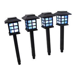 n/a - Set of 4 Solar Lantern Path Lights with White LED Light - These solar powered path lights add a lovely accent to the corners of gardens or flower beds, or along pathways. Each path light is 11 1/2 inches long, comes with a 4 1/2 long ground spike, and is lit by a bright white LED bulb. Twist the top counterclockwise to remove it for access to the on/off switch. Be sure to turn the power switches on and allow the lights to charge in direct sunlight for 6-8 hours for the first initial charge, and enjoy your new lights.