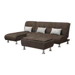 Adarn Inc - Brown Microfiber 3 PC Sectional Sofa Futon Couch Chaise Bed Sleeper Ottoman Set - Completely casual and absurdly comfortable, this modern styled sectional sofa will introduce your home to the importance of casual comfort and easy convenience. Designed with plush padded cushions that feature a pillow-top look, this comfortable sectional casts an inviting aura that is complete with relaxed seam details and silver-colored cylinder feet. The padded seat back of the sofa and chaise fold down to create a large sleeper sofa when the chaise is pulled in front of the sofa. Combining comfort with a new age style, this sectional sofa with fold-down sleeper coordinates with casual, contemporary and modern rooms. Coordinating flip-top ottoman may also be available. Make entertaining and accommodating overnight guests easy with this sofa bed and ottoman collection. Not only can you comfortably seat many people on these plush microfiber pieces, you can also create a king sized bed by combining the sofa bed and chaise sofa bed. The storage ottoman also includes 2 serving trays for added convenience. Accent pillows included.