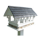 Home Bazaar - Covered Bridge Bird Feeder, White with Black Roof - Why not pay tribute to this historic staple of 19th century engineering while providing a beautiful place for birds to feast in your garden? The covered bridge replica can house seeds or fruit for your winged friends, and the custom-fit mounting plate makes installation easy. Simply attach it to a standard 4-by-4 or fence post and you're good to go!