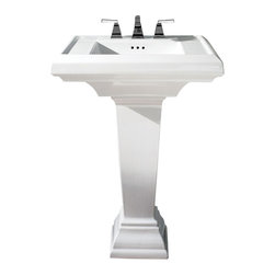 "American Standard - Town Square 24"" Fireclay Pedestal Bathroom Sink with 8"" Centers in White - American Standard 0790.800.020 Town Square 24"" Fireclay Pedestal Bathroom Sink with 8"" Centers in White. The American Standard Town Square Pedestal Sink Combo in White is designed to complement a variety of bathroom decorating schemes. It is constructed of fireclay ceramic for added durability and resistance to most types of stains. The basin is 24 in. wide with a faucet ledge that has plenty of room for your bathroom accessories. It features a rear overflow and predrilled 8 in. faucet center holes.American Standard 0790.800.020 Town Square 24"" Fireclay Pedestal Bathroom Sink with 8"" Centers in White, Features:Fireclay construction provides added durability and stain resistance"