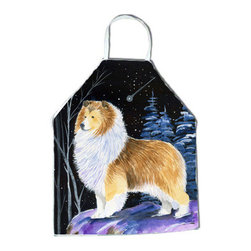 Caroline's Treasures - Starry Night Sheltie Apron - Apron, Bib Style, 27 in H x 31 in W; 100 percent  Ultra Spun Poly, White, braided nylon tie straps, sewn cloth neckband. These bib style aprons are not just for cooking - they are also great for cleaning, gardening, art projects, and other activities, too!