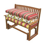 Blazing Needle Designs - Outdoor 45 in. Patio Bench Cushion (Print - Skyworks Caribbean) - Fabric: Print - Skyworks Caribbean. Includes on cushion. Furniture not included. Foam encased for maximum comfort. Washable as long as foam is taken out first. Equipped with velcro. Fits a 2 seater and 3 seater bench. UV light and weatherproof protection. 100% Spun polyester. All cushions are custom made and are not returnable. 45 in. L x 18 in. W x 3 in. H (4 lbs.)