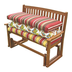 Blazing Needle Designs - Outdoor 45 in. Patio Bench Cushion (Solid - Paprika) - Fabric: Solid - Paprika. Includes on cushion. Furniture not included. Foam encased for maximum comfort. Washable as long as foam is taken out first. Equipped with velcro. Fits a 2 seater and 3 seater bench. UV light and weatherproof protection. 100% Spun polyester. All cushions are custom made and are not returnable. 45 in. L x 18 in. W x 3 in. H (4 lbs.)