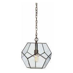 Arteriors - Tenley Pendant, Small - This simple yet striking fixture will shed new light on your favorite setting. Glass pentagonal panels are ingeniously joined together with bronze-finished iron strips.