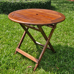 International Caravan - International Caravan Acacia 32-inch Round Folding Table - This durable patio table will add style to your outdoor decor while holding up against inclement weather. It also folds for easy storage when not needed.