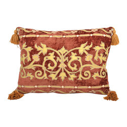 n/a - Consigned Pillow w/ Rusty Rose Baroque Textile - Pillow made with vintage French royal rusty rose color chenille fabric with gold color silk application of traditional Baroque designs, four cotton gold color tassels. Feather and down cushion
