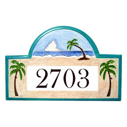 Tropical Beach House Number Plaque - To find out more and how to order click here: http://www.classyplaques.com/tropical-beach-house-number-plaque/