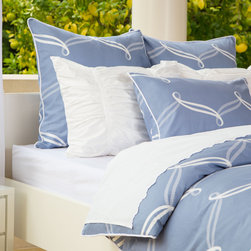 Crane & Canopy - Piper Blue Classic Duvet Cover - Queen/Full - A contemporary, striking palette. A playful, preppy pattern. Perfect for any modern bedroom, the Piper's white cascading ribbon pattern contrasts beautifully against a sophisticated Newport blue palette.