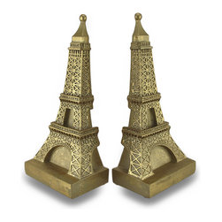 Zeckos - Decorative Metallic Gold Eiffel Tower Bookends - This pair of decorative bookends is a wonderful accent to the home of the worldly traveler, and it is perfect for rooms with French themed decor. Made of cold cast resin, they measure 9 3/4 inches tall, 4 5/8 inches long, and 3 inches wide. They have a hand-painted metallic gold finish. These bookends look great on shelves, bookcase, table, or desks anywhere in your home or office.