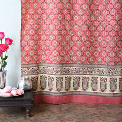 India Rose, Luxury Pink Floral Indian Sari Print Shower Curtain