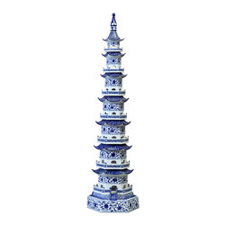 """Bungalow 5 - Bungalow 5 Pagoda Tower - Bungalow 5's dramatic Pagoda Tower demands attention in transitional interiors. Sleek and stylish, this blue and white porcelain accessory replicates an iconic chinoiserie design. 12""""W x 48""""H; Blue and white hand-painted porcelain"""