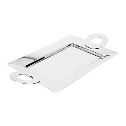 Cerchietto Rectangle Tray, Small - Just a few inches smaller than its larger counterpart, this stainless steeltray is polished to perfection. The rectangular shape of the tray is juxtaposed with the jumbo round handles in true modern Italian style. Can take hot food.Made in Italy.