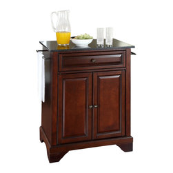 Crosley Furniture - Crosley Furniture LaFayette 28x18 Solid Black Granite Top Portable Kitchen Islan - Constructed of solid hardwood and wood veneers, this kitchen island is designed for longevity. The beautiful raised panel doors and drawer front provide the ultimate in style to dress up your kitchen. The deep drawer are great for anything from utensils to storage containers. Behind the two doors, you will find an adjustable shelf and an abundance of storage space for things that you prefer to be out of sight. Style, function, and quality make this kitchen island a wise addition to your home.