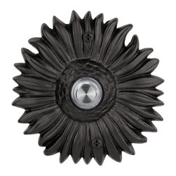 Waterwood - Solid Brass Sunflower Doorbell in Black - The Waterwood Solid Brass Sunflower Doorbell is a symbol of eternal sunshine and summer at your front door.. This solid brass doorbell is crafted using the sand casting technique. It is then hand finished and coated with a protective lacquer to withstand the elements. Waterwood doorbells are easy to install and will add personality to your home.