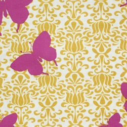 Mod-Butterfly Jubilee Raspberry - While I only believe in using butterflies in very specific design situations (I blame the Mariah Carey episode of MTV Cribs), this wallpaper is up to my cautious butterfly standards! Vibrant raspberry-colored butterflies flying across a traditional yellow/gold print? A brilliant combination.