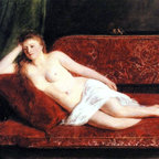 """William Powell Frith After the Bath - 18"""" x 24"""" Premium Archival Print - 18"""" x 24"""" William Powell Frith After the Bath premium archival print reproduced to meet museum quality standards. Our museum quality archival prints are produced using high-precision print technology for a more accurate reproduction printed on high quality, heavyweight matte presentation paper with fade-resistant, archival inks. Our progressive business model allows us to offer works of art to you at the best wholesale pricing, significantly less than art gallery prices, affordable to all. This line of artwork is produced with extra white border space (if you choose to have it framed, for your framer to work with to frame properly or utilize a larger mat and/or frame).  We present a comprehensive collection of exceptional art reproductions byWilliam Powell Frith."""