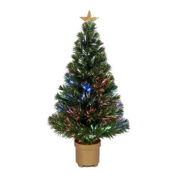 None - Multi-color LED Fiber Optic Tree - Add some Christmas cheer this season with this shimmering fiber optic tree. With a solid base and top star, this tree is the perfect way to celebrate the holidays.