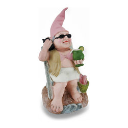 Zeckos - Beach Babe Relaxing Garden Gnome Statue 12 Inch - Taking a break from her garden duties, this beach babe enjoys a tropical drink, and catches up with her gnome friends back in Gnome Man's Land while soaking up the sun Chair in the sand and sunglasses on, she wears her characteristic pointy hat, and has kicked off her boots to feel her toes in the water. This 11.5 inch high, 6 inch long, 7 inch wide (29 x 15 x 18 cm) whimsical cast resin garden gnome statue is a fun addition to your garden decor, and a must-have piece for your gnome collection featuring a hand-painted finish and textured details.