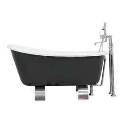 The Tub Studio - Piera Acrylic Slipper Footed Bathtub Package, Iron Gray - Product Details