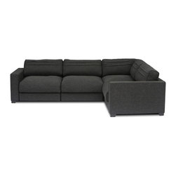 Bryght - Vani Modular 4 Seat Sectional - The Vani collection depicts the quintessential modern day furniture design, with its smooth line proportions, smart angled backs and sumptuous liquorice upholstery. The Vani sectional offers a wide array of configurable options that allow you the flexibility to arrange your living space with ease and style.