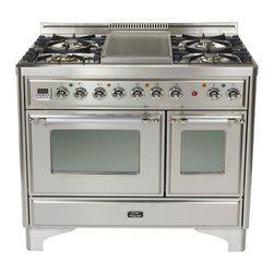 "ILVE Majestic Collection - ILVE Majestic 40"" Dual Fuel, Double Oven Range with 7 Burners and Removable Griddle Accessory.  Pictured in Stainless Steel with Chrome Trim.  Also available in 6 other color and 2 trim options.  Features full-size warming drawer, rotisserie, multi-function convection oven, digital clock and timer."