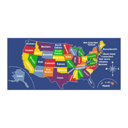 "Learning Carpets - Learning Carpets Playmat US Map - CPR519 257cm x 360cm / 8'5""x 11'9"" - From Coast To Coast, This Colorful Play Carpet Enables Children To Learn The Location And Names Of Each Of The 50 United States. Geography Has Never Been So Much Fun. Available In Two Sizes Of Each Shape. Anti-Microbial Treatment: The Anti-Microbial Treatment Is A Durable ""Locked-In"" Feature That Is Incorporated Into The Backing Composite Of All Our Rugs To Minimize Product Deterioration And Odors Caused By Microbial Activity. This Enhancement Minimizes The Opportunity For Product-Deteriorating Microbial Activity In The Backing Or Beneath The Carpet. This Feature Has Been Tested For Effectiveness And Safety. In Addition, This Anti Microbial Treatment Remains Active For The Life Of The Carpet Under Normal Use And With Routinely Accepted Maintenance. All Our Cut Pile Rug Designs Are Available In Various Shapes And Sizes. Lifetime Limited Wear Warranty. 10-Year Soil And Stain Protection. Lifetime Anti-Static Fiber. High Twist 100% Nylon - Prevents Matting And Crushing. Flexible Back Resists Wrinkling. Triple Felt Backing. Double Stitching. Guaranteed Lowest Cost In The Industry. No Minimum Order Required. Superb Customer Service. Drop Shipping Available. Made In Holland."