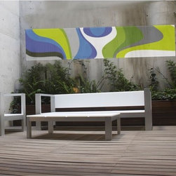 Outdoor Garden Banners - Create a focal point on a bare garden wall of cover balcony railings for privacy with this outdoor fabric banner. The Puchi Swirl outdoor banner is made with polyester fabric and UV resistant inks. The fabric allows light to pass through so the design is visible from front and back.
