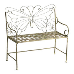 Cyan - Butterfly Garden Settee - You'll come in for a landing when you see this inviting outdoor settee. The backrest features the enduring monarch butterfly design, while the lovely latticework in the seat rest provides breathable comfort and sturdy support. The exterior also makes the settee look as if it's fared well in inclement weather.