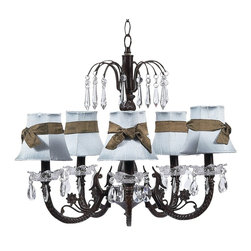 Mocha Waterfall Chandelier with Plain Blue Shades tied with Brown Sashes. - This pretty Mocha waterfall chandelier features classic plain blue shades tied with brown sashes.
