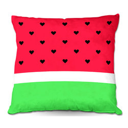 DiaNoche Designs - Pillow Linen by Organic Saturation - I Love Watermelon - DiaNoche Designs works with artists from around the world to create astouding and unique home decor products.  Add a little texture and style to your decor with our Woven Linen throw pillows.  The material has a smooth boxy weave.  Each pillow is machine loomed, then printed and sewn ALL IN THE USA!!!  100% smooth poly with cushy supportive pillow insert with a hidden zip closure. Dye Sublimation printing adheres the ink to the material for long life and durability. Double Sided Print, machine wash upon arrival for maximum softness. Product may vary slightly from image.
