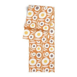 Orange & Gray Graphic Floral Custom Table Runner - Get ready to dine in style with your new Simple Table Runner. With clean rolled edges and hundreds of fabrics to choose from, it's the perfect centerpiece to the well set table. We love it in this modern graphic floral print in tangerine orange, gray and white that will put some spring in your decor's step