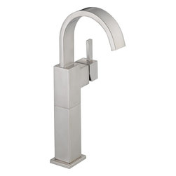 Delta - Delta 753LF-SS Vero Single Handle Centerset Bathroom Faucet with Riser - Less Po - Delta 753LF-SS Vero Single Handle Centerset Bathroom Faucet with Riser - Less Pop-Up in StainlessIts sleek and minimalist design are just two reasons the ribbon-inspired Vero Collection is the perfect urban oasis.  Getting ready in the morning is far from routine when you are surrounded by a bath that reflects your personal style.  Offered in chrome and stainless, the Vero Bath Collection comes with a full suite of coordinating accessories, providing a decorative look throughout the bath.Delta 753LF-SS Vero Single Handle Centerset Bathroom Faucet with Riser - Less Pop-Up in Stainless, Features:• 1.5 gpm, 5.7 L/min