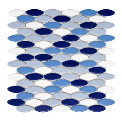 None - SomerTile 'Posh Ellipse Oceano' 10.25 x 12-inch Porcelain Mosaic Tiles (Pack of - This mosaic floor and wall tile features an elongated oval design with a contemporary feel. The mixed glazes make this tile pop and its impervious nature makes it great for indoor and outdoor use.