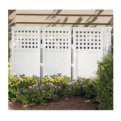 Suncast - Outdoor Screen Fence - 4 Pc Pk - Decorative screen conceals air conditioners, garbage cans and trash dumpsters. 4 panels and 5 posts can be arranged in many ways. Durable resin construction. Steel posts with powder-coated finish. Single Panel: 23 in. W x 2 in. D x 44 in. H (4.5 lbs). Total weight: 26 lbs.