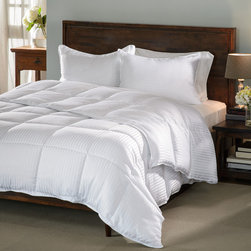 None - All-season Luxurious Down Alternative Hypoallergenic Striped Comforter - Enjoy a perfect night's sleep under this fluffy, breathable down alternative striped comforter. The tight baffle box construction is specifically designed to prevent the soft hypoallergenic fill from shifting.