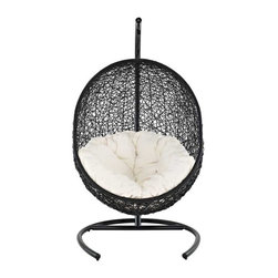 Modway - Encase Lounge Chair in Espresso White - Embark on moments of metamorphosis and rebirth with this exotic hanging outdoor swing chair. Transform the mundane to heightened states of consciousness with Encase's sturdy espresso metal stand and rattan seat. Surround yourself with plush white-fabric cushions and floral pattern to complete this entry into life and healing.