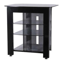 Sanus - Sanus SFA29B Steel Series Audio Rack - Sanus - Audio Racks - SFA29B1 - Designed to complement the style of today's digital A/V gear. Constructed of premium Black powder-coated steel and extra-thick tempered glass. Dramatic open styling highlights equipment and dissipates heat. Contemporary perforated back adds style while concealing wires.