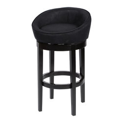 "Armen Living - Igloo Black Microfiber 26"" Swivel Barstool With Ebony Finished Legs - Igloo barstool is a great contemporary 26 inches swivel barstool in an easy to clean black microfiber cover. Armen Living is the quintessential modern-day furniture designer and manufacturer. With flexibility and speed to market, Armen Living exceeds the customer s expectations at every level of interaction. Armen Living not only delivers sensational products of exceptional quality, but also offers extraordinarily powerful reliability and capability only limited by the imagination. Our client relationships are fully supported and sustained by a stellar name, legendary history, and enduring reputation. The groundbreaking new Armen Living line represents a refreshingly innovative creative collaboration with top designers in the home furnishings industry. The result is a uniquely modern collection gorgeously enhanced by sophisticated retro aesthetics. Armen Living celebrates bold individuality, vibrant youthfulness, sensual refinement, and expert craftsmanship at fiscally sensible price points. Each piece conveys pleasure and exudes self expression while resonating with the contemporary chic lifestyle."