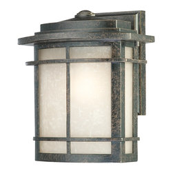 Quoizel - Quoizel GLN8409IB Galen Transitional Outdoor Wall Sconce - Medium - A design made for classic Arts and Crafts style homes, but looks great on contemporary or modern homes as well. The imperial bronze finish will coordinate well and the umber linen glass is the perfect light source for your outdoor decor. This collection, with its classic elements, will bring understated flair to any home.