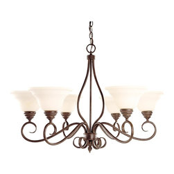Savoy House Lighting - Savoy House KP-104-6-91 Bryce 6 Light Chandelier, Sunset Bronze - The Bryce collection delights in a Sunset Bronze finish with detailed iron leaf ornamentation on the wall sconces. The soft curls and Cream Faux Alabaster Glass create that clean classic look you are looking for your home.
