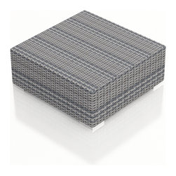 Harmonia Living - Urbana Weathered Stone Patio Modern Coffee Table - The Harmonia Living Urbana Modern Wicker Patio Coffee Table in Weathered Stone (SKU HL-URBN-WS-CT) provides an incredibly chic setting for relaxing out on your deck or patio. This modern outdoor table's compact, minimalist design can accommodate your guests in small areas without compromising the contemporary look. The table is covered in a modern, High-Density Polyethylene (HDPE) wicker infused with a Weathered Stone color and UV protection, designed to last despite harsh outdoor elements. It is framed with powder-coated, thick-gauged aluminum for strength and excellent corrosion resistance. Conveniently, underneath this patio table are plastic guides to let you slide the seats or rearrange the set freely without worrying about damage to your patio or deck.